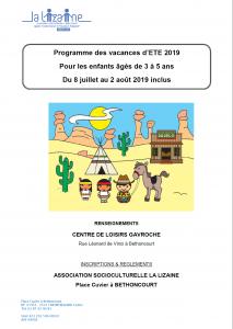 Programmes des vacances été 2019 de l'association socioculturelle la Lizaine