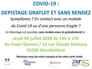 Dépistage gratuit du Covid-19 le 09/07