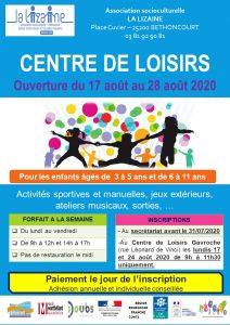Centre de loisirs Gavroche : ouvert du 17 au 28 août